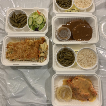 Caterers deliver a bag each week with enough food for 3 meals.